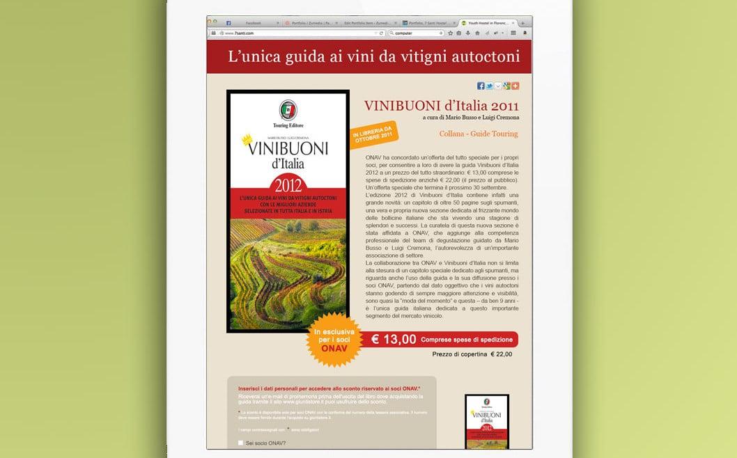Realizzazione landing page GUIDA VINI BUONI D'ITALIA 2011