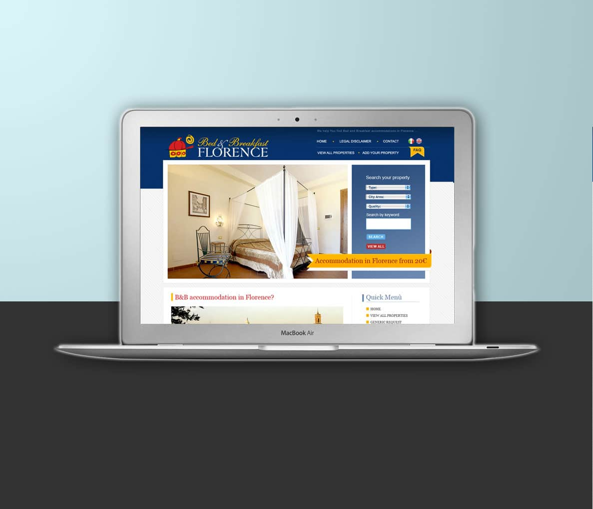 Progetto grafico portale di accommodation