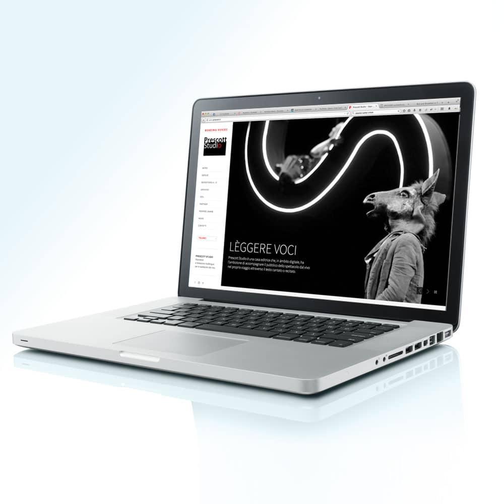Realizzazione sito web PRESCOTT STUDIO titolazione multilingua per lo spettacolo